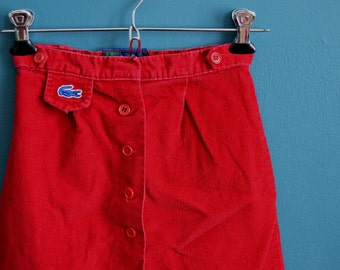 Vintage Girl's Early 80s Burgandy Corduroy Skirt by Izod Lacoste - Size 6X