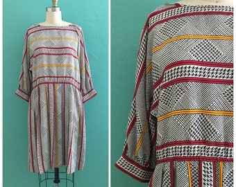 80's striped print baby doll dress  ~ small medium