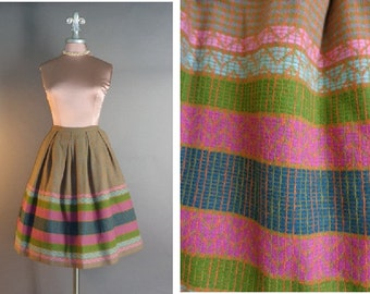 50s skirt 1950s vintage PINK BLUE PATTERNED Arts and Crafts stained glass windows wool fit and flare full skirt