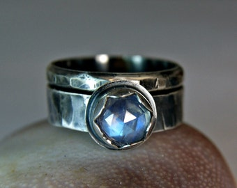Rainbow Moonstone Wedding Set, Antiqued Sterling Silver Engagement Ring, Bohemian Jewelry
