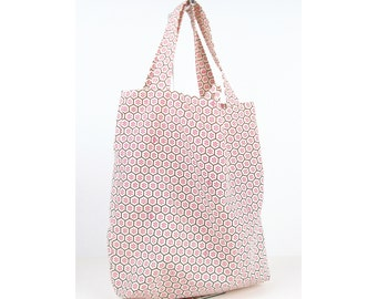 Reversible Shopping Tote in Pink Honeycomb, Designer Fabric, Triple Reinforced