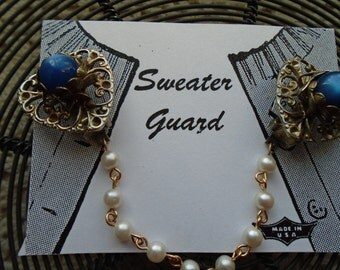 Sweater Clip  Sweater guard  Filigree Hearts With Fancy Bezel Set Blue Lucite Beads A Single Pearl Chain FREE SHIPPING