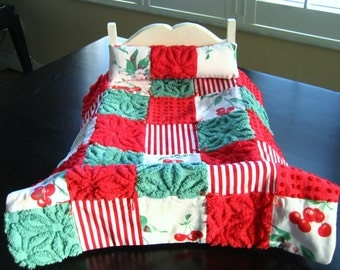 """FREE SHIPPING American Girl DOLL Quilt and Pillow Ready to ship! """"Cherry Christmas"""""""