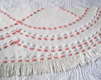 Cabin Crafts Vintage Chenille Bedspread Fabric Pink and White Pops and Swags