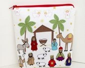 Nativity Scene, Holy Family, Christmas Zippered Pouch, Zipper Holiday Gift Bag
