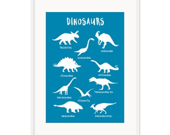Dinosaur Poster - available in multiple colour options A3 or A2 in size