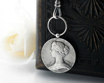 Edwardian Sterling Silver Art Medal | L. Roty Art Medal | Art Nouveau Silver 'Marianne' Medal Pendant with Fob Clip - 34 Inch Long Chain