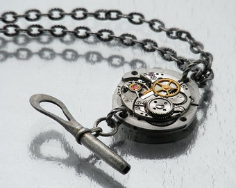Steampunk Necklace | Vintage Watch Mechanism Pendant, Antique Watch Key | Layered Cogs, Wheels | Industrial Pendant - 33 Inch Long Chain