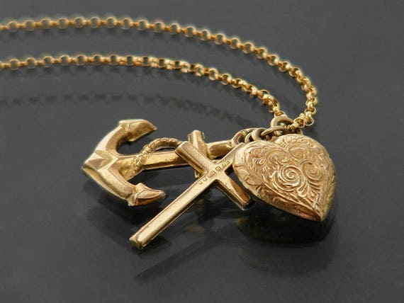 Vintage 9ct Gold Charm Necklace | 9 Carat Faith, Hope & Charity Charms | Romantic Victorian Style Heart, Cross and Anchor - 22 Inch Chain