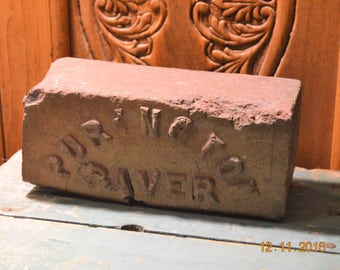 Vintage PURINGTON PAVER brick 1930s Clay ,Reclaimed ,Embossed,Vintage door stop, vintage bookend, gardening, collectable art