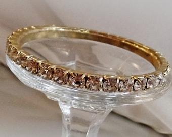 CHRISTMAS SALE Vintage Rhinestone Bracelet. Gold Tone Prong Set Clear Rhinestones Bangle.