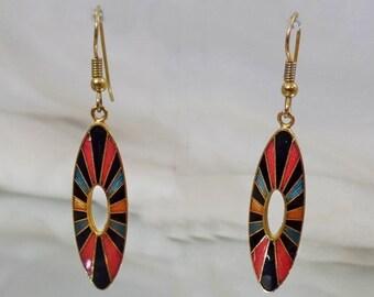 ON SALE Vintage Mod Cloisonne Earrings. Black Blue Pink Gold Dangling Cloisonne Enamel Earrings.