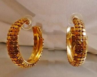 ON SALE Vintage Gold Mesh Hoop Earrings.  Bold Gold Plated Disco Hoop Earrings.