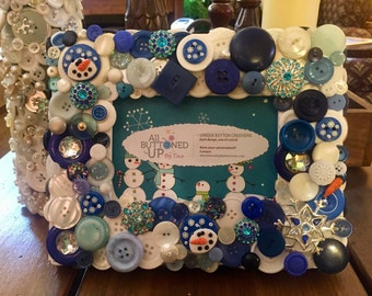SNOWMAN Button Frame in Blue and White ~ Holiday Frame ~ Winter Frame ~ Gift for Her ~ Shabby Chic Decor ~ Boho Frame ~ for 4x6 photo