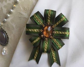 Military Ribbon Pin Emerald Green and Gold