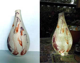 LED Felted Lamp, Orchid Vessel Lantern