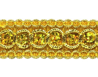 "Gold Holographic Trish Sequin Metallic Braid Trim 7/8"" (E6973-glab)"