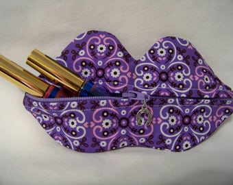 Zippy Lips in Sweet Bandana in Lavender - Makeup Pouch - Coin Purse - Lipstick Pouch - Ready To Ship