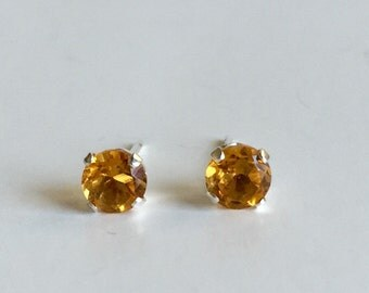 Citrine 4mm .45ctw Sterling Silver Stud Earrings
