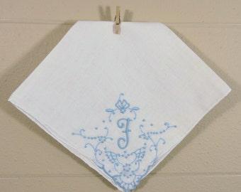Vintage F Monogrammed Hankie / Monogrammed F Wedding Hankerchief / Ladies Hankie