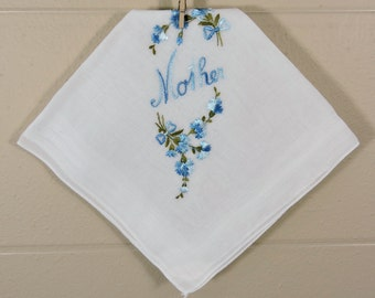 Vintage Blue Mother Hankie / Embroidered Mother Hankie / Mother's Day Hankie
