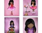 Dark skin girls wall art prints set, African american kids room decor, princess wall art, art for girls room, ballerina, nursery art prints