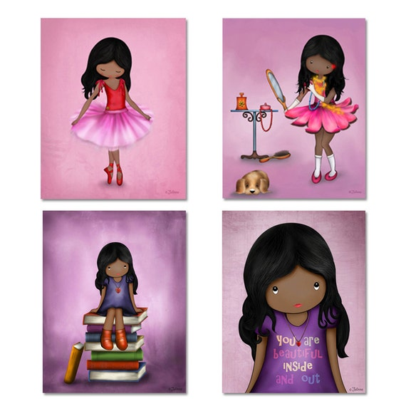 Dark skin girls wall art prints set, African american kids room decor, princess wall art, art for girls room, ballerina, nursery art prints