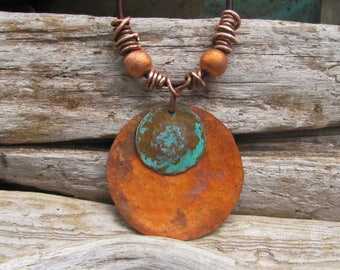 Bohemian Copper Jewelry Fire Patina Medallion Pendant