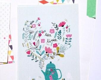 2 Cards Tea time  + 2 white envelopes, Tea pot and flowers illustration - art print illustration - cards - tea lovers cards