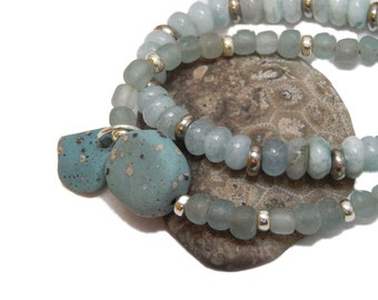 Two strand Leland Blue bracelet, sterling silver beads and findings, pewter beads, Lake Michigan, up north, Summer stones, slag glass