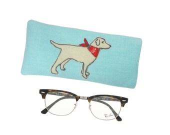 Soft Glasses Case, Dog Lover Gift,  Sunglasses Pouch, Spectacle Holder, Gift for Women, Dog Glasses Case, Cute Blue Glasses Case