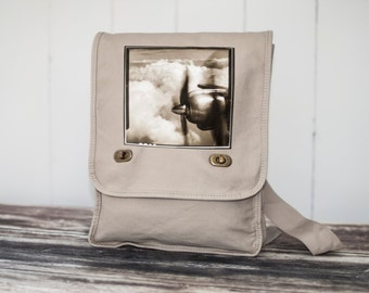 Come Fly With Me - Vintage Photograph - Natural Stone Messenger Bag - Field Bag - Canvas Bag