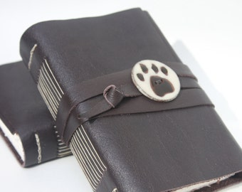 Dog Paw Print - Brown Leather Journal or Leather Sketchbook, Leather Notebook Blank Book - Handmade