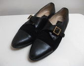 Black Leather and Suede 80s Pilgrim Shoes, Size 7.5 N