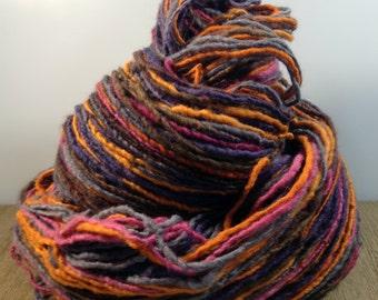 Handspun Yarn, Hand Dyed Yarn, Fingering Weight Yarn, Merino Wool Yarn - Autumn Trail - Single Ply Self Striping Yarn