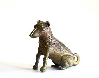 Vintage Cast Metal Dog Figurine Ornate Hollywood Regency Design