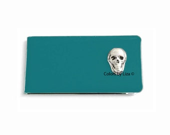 Skull Metal Money Clip Inlaid in Hand Painted Enamel Teal Opaque Glossy Finish with Personalized and Color Options