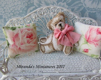 Dollhouse Miniature Teddy bear pillow set with peach rose pillows cottage chic