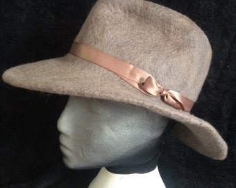 Fedora, hand dyed merino wool with a satin ribbon