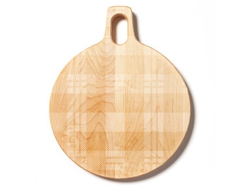 Maple Hardwood Round Cutting Board with Plaid Pattern