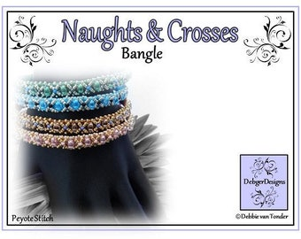 Beading Pattern,  Tutorial, Bangle - NAUGHTS and CROSSES