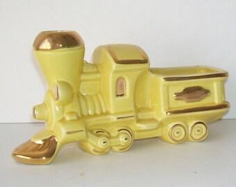 Vintage Yellow Ceramic Locomotive Train Engine planter, Retro Home Decor Planter, Choo Choo Train, Yellow Pottery Train trimmed with Gold