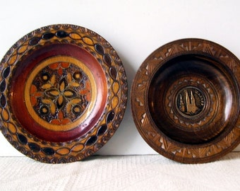 2 Vintage Polish Zagreb Crotia  SMALL Hand Carved Wooden Bowls, Embossed Church Twin Spired Cathedral, Home Decor, Nut Dishes,