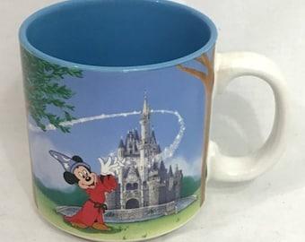 Vintage Disney Fantasia Mickey 20 Year Comemorative Blue Coffee Mug Cup