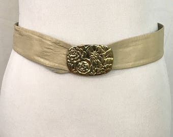 Vintage 1980s Cream Leather Adjustable Belt