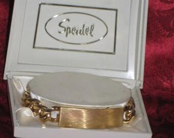 Vintage 70's Speidel ID Bracelet/Men's Jewelry/Gold Tone Men;s ID Bracelet