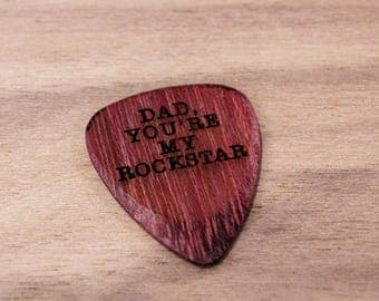 Personalised Guitar Plectrum / Pick ~ Dad you're my rockstar ~ Father's day Gift ~ Wooden Pick / Plectrum ~ High Quality customised Pick ~
