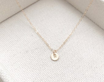 """SALE - Tiny Customized Initial 1/4"""" Disc Necklace in gold Small Dainty Circle Disc Charms - Personalized - Bridal Gift - thelovelyraindrop"""