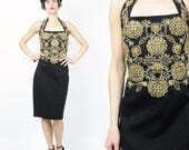 25% OFF Sale 80s 90s Sequin Party Dress Body Con Black Mini Dress Gold Gem Stones Beaded Dress Floral Embroidered Dress Cocktail Evening Dre