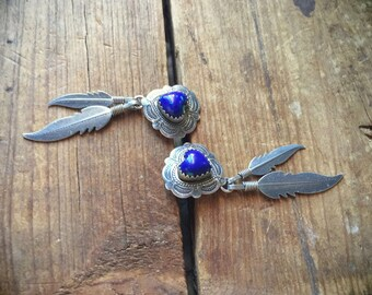 Vintage Southwestern sterling silver heart lapis lazuli and feathers earrings, Native American Indian inspired jewelry, lapis earrings